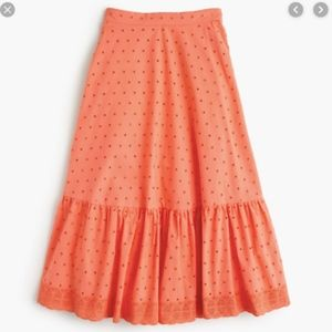Jcrew Petite Tiered Midi Skirt In Eyelot Poplin 0P